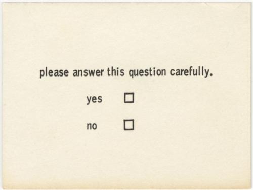 Benjamin Patterson - Questionnaire, 1968